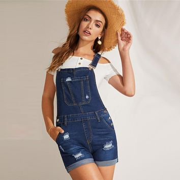 Navy Ripped Detail Rolled Hem Denim Pinafore Rompers Womens Jumpsuit Stretchy Casual Straps Overall Playsuit