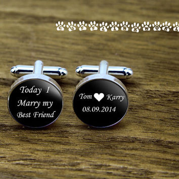Today I marry my best friend  Custom  Monogram font  cufflinks,Groom&Groomsmen  cufflinks, wedding cufflink,silver cufflinks, Men cufflinks,