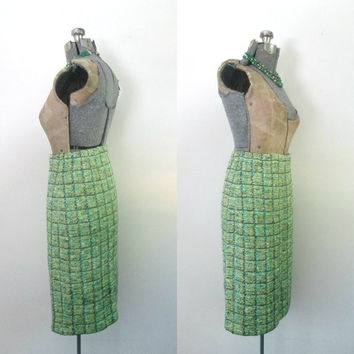 St. John Green Pencil Sweater Skirt // Tweed Knit Straight Office to Evening