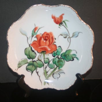 Vintage Lefton Hand Painted Rose Plate, Home Decor