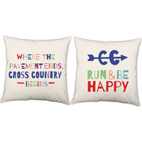 Set of 2 Run and Be Happy Pillows - Cross Country Pillow Covers and Or Cushion Inserts - Running Print, Cross Country, Runner, Be Happy, XC