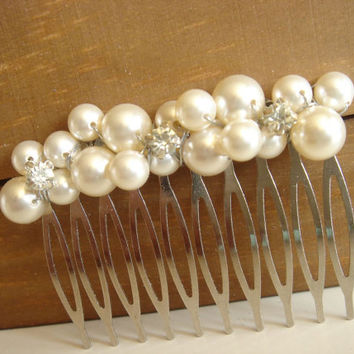 Shuei Bridal Hair Comb, Pearl Hair Comb, Rhinestone Pearl Hair Comb, Bridesmaid Gift, Flower Girl Hair Comb, Hair Piece, Hair Accessory
