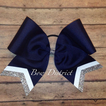 "3"" Navy Blue Team Cheer Bow with White and Silver Glitter Tail Stripes"
