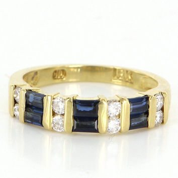 Vintage 18 Karat Yellow Gold Diamond Sapphire Anniversary Stack Band Ring Estate Jewelry