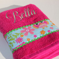 Personalized Owl Bath Towel Child or Adult