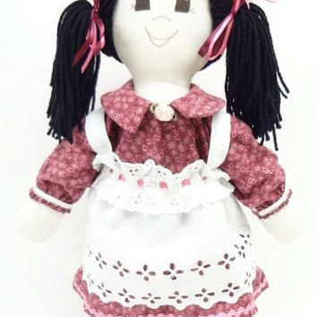 hand made rag doll Rag Doll handmade ragdoll black pigtails black eyes burgundy pink flowered hat NF58