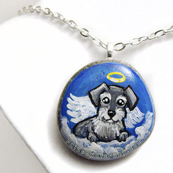 Miniature Schnauzer Pendant, Pet Memorial Necklace, Angel Dog Jewelry, Animal Art, Hand Painted Beach Stone, Pet Loss Gift, Blue Sky