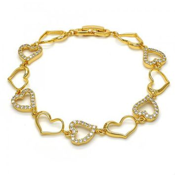 Gold Layered 03.304.0003.07 Fancy Bracelet, Heart Design, with White Cubic Zirconia, Polished Finish, Golden Tone