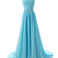 Dressystar Beaded Straps Bridesmaid Prom Dresses with Sparkling Embellished Waist Size 10 Blue