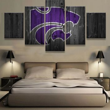 Kansas State Wildcats Barnwood Style Canvas Wall Art Home Decor