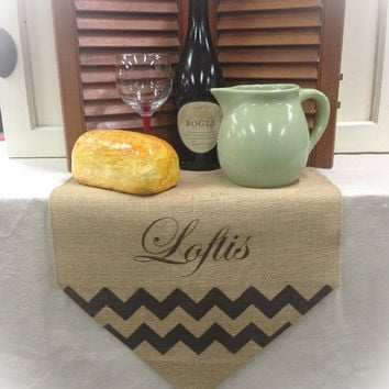 "Burlap Table Runner 12"", 14"" & 15"" wide name Monogram w/Chevron"