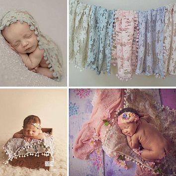 Newborn photography props quilt baby infantil tassel ball stretch lace scarf newborn photography accessories 45*45cm
