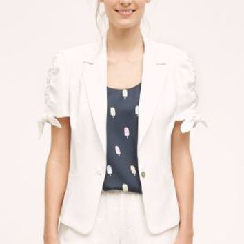 Elevenses Ruched Sleeve Blazer in White Size: