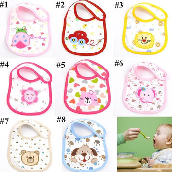 Baby Kid Boys Girls Children Toddler Lunch Bibs Saliva Towel 3 Layer Waterproof Cartoon Cotton Soft