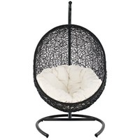 LexMod Cocoon Wicker Rattan Outdoor Wicker Patio Swing Chair, Suspension Series