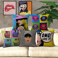 "18"" All American Animation Pop Art Sofa Cotton Linen Cushion Cover"