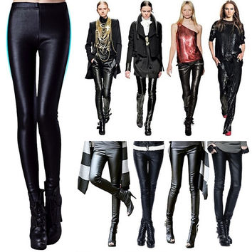 Womens matt leather Fleece lined Thick Tight Pencil Leggings Sexy Pant HOT  F_F