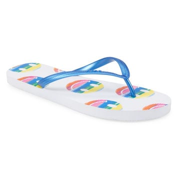 Aeropostale Womens Rainbow Smiley Flip-Flops - Blue,