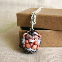 Hedgehog necklace , Totem Jewelry With a Message