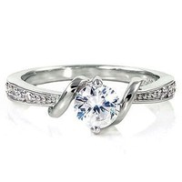 Entwined Love: 0.71ct Brilliant-cut Russian IOF CZ Promise Engagement Ring 925 Silver, 3066 sz 8.0