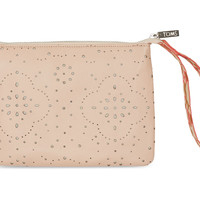 TOMS vachetta pattern embossed leather jetset pouch