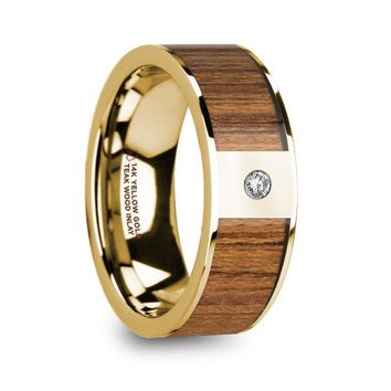 Exotic Teak Wood Gold Wedding Ring with White Diamond, 14K