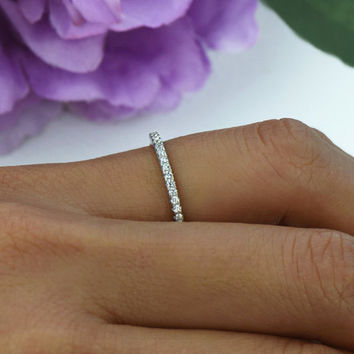 Small, Half Eternity Ring, 1.5mm Wedding Band, Engagement Ring, Man Made Diamond Simulants, Bridal Ring, Round Wedding Band, Sterling Silver