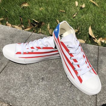 Wen Summer Low Top Canvas Shoes Design Puerto Rico Flag Hand Painted Shoes Sneakers Men Women Plimsolls Gym Trainers Zapatos