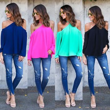 off shoulder chiffon halter tops