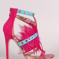 Strappy Grommets And Feather Embellished Stiletto Heel