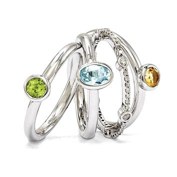 Sterling Silver Classic Solitaire Gemstone &Diamond Stackable Ring Set