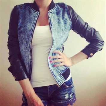 Women Retro Vinatge Fashion Casual Blue Jean Denim Black Long Leather Sleeve Shirt Tops Blouse Jacket Coat