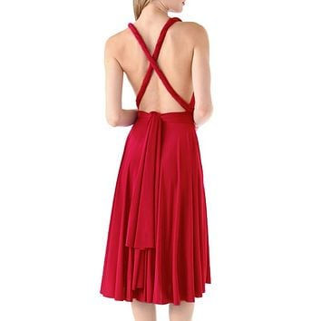 Sexy Womens Beach Dress Tunic Multi Way Halter Wear Wrap Variety Convertible Infinity Party Dresses Short Bridesmaids Dress