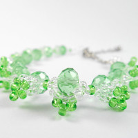 Green Glass Crystal Bracelet, Crystal and Seed Bead Jewelry, Made to Order Bracelets, Bridal Jewelry, Bridesmaids Bracelets