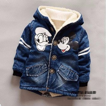 Minnie Mouse Infant Girl Winter Coat Baby Boy Padded Jacket Hooded Boys Denim Jacket 2-5T Children Thick Outerwear Bebe Clothing