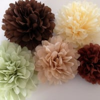 Set of 24 tissue paper pom poms-party poms-birthday pompoms-hanging pom poms-wedding decor-party decor-wedding reception-poms
