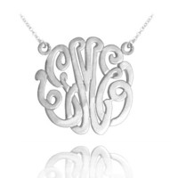 """Monogram Necklace 1"""" Wide (Order Your Initials)- Sterling Silver"""