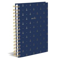 Gold Anchors Hard Bound Journal in Blue