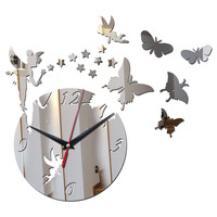 top fashion wall clock sticker quartz home decoration acrylic mirror surface modern design furniture diy stickers free shipping