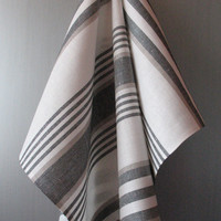 Linen Cotton Dish Towels striped - Tea Towels set of 2