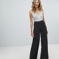 Missguided Mixed Strap Polka Dot Jumpsuit at asos.com