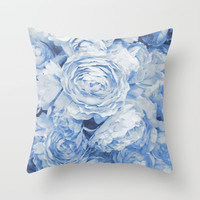 Roses in blue Throw Pillow by juliagrifoldesigns