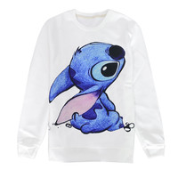 2017 Kawaii Cute Cartoon Lilo Stitch Solid Men/Women White Sweatshirts Hoodies Pullovers Casual Long Sleeve Women Tops Sudaderas