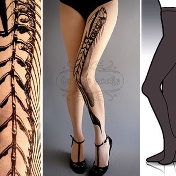 S/M Fish Bone Dark Grey tattoo tights / stockings / by tattoosocks
