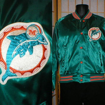 80s teal satin Miami Dolphons bomber jacket by Chalk Line mens size medium