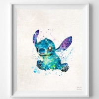 Stitch Print, Lilo and Stitch, Type 2, Watercolor Art, Disney Poster, Illustration, Home Decor, Room Art, Kids Wall Art, Halloween Decor