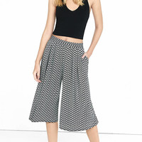 Striped Geo Print Soft Pleated Culottes from EXPRESS