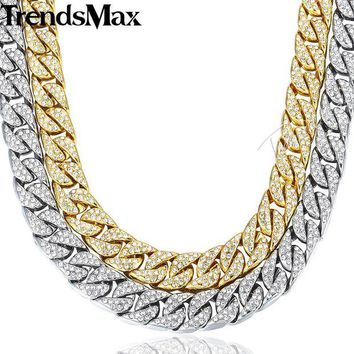ac spbest 14mm 60cm Hiphop Bling Jewelry Necklace for Men Iced Out Miami Curb Cuban Link Chain Gold Silver Color CZ Rhinestones GN432