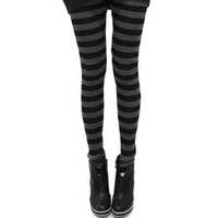 LOCOMO Women Horizontal Stripes Striped Legging Slim S-M FFT030 Black Gray