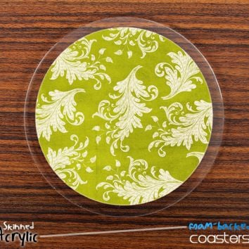 The Green Vintage Floral Skinned Foam-Backed Coaster Set